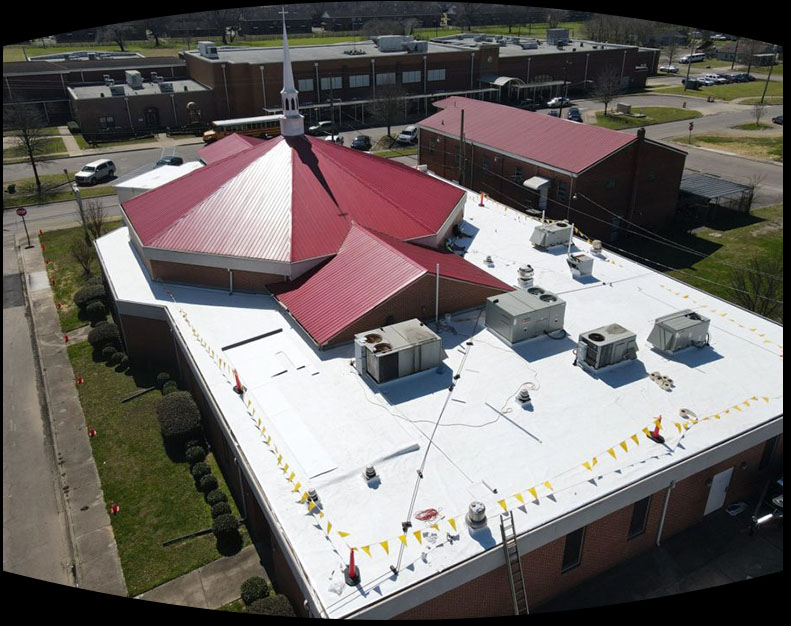 Top down view of a commercial roofing project performed by Yellowhammer Roofing Inc.